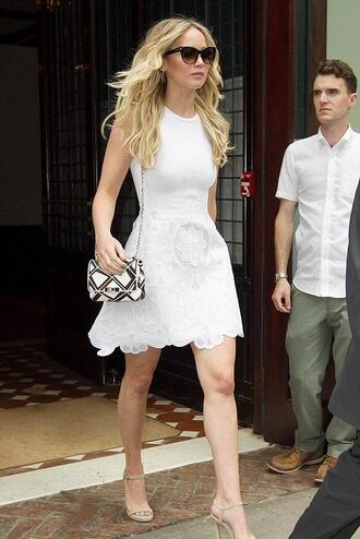 dress summer dress white dress jennifer lawrence sandals lace dress white lace dress sunglasses