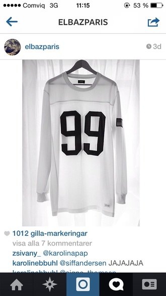 sweater white black number football football shirts long sleeves longsleeve shirt