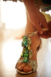 shoes,green,gold flat sandals,green jeweled heels,sandals,jewels,gold,emerald jewelled heels