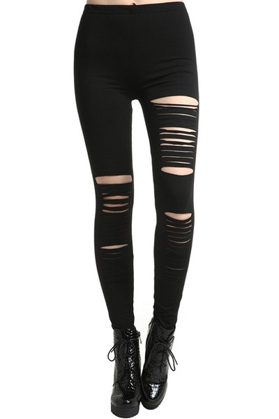 Ripped slit leggings