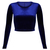 New Womens Blue Velvet Crop Top Crew Neck Long Sleeves Ladies 8 10 12 14 | eBay