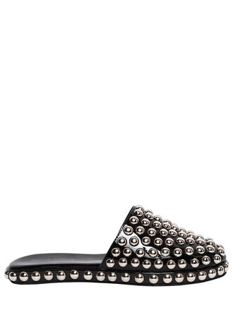 studded mules leather silver black shoes