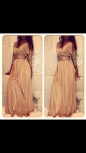 beige,cream,coffee,maxi dress,long sleeves,dress,original,nude,shimmer print,style,fashion,gold,soie