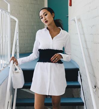 shirt tumblr white shirt shirt dress mini dress white dress corset belt belt bag white bag