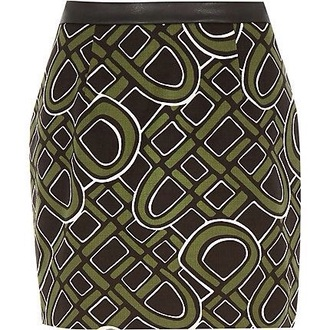 skirt khaki green 60s style print river island mini