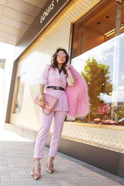 styleofsam blogger pants jewels coat belt shoes sunglasses bag jeans all pink everything pink suit pink blazer pink pants fuzzy coat high heel pumps pink bag