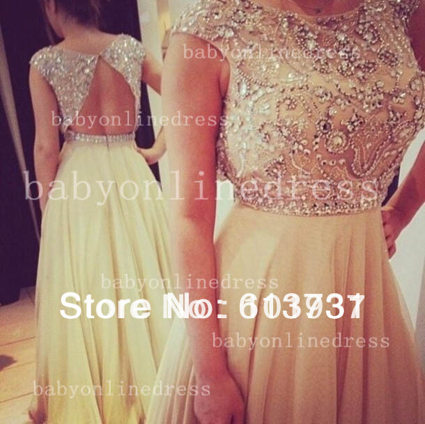 Best Selling New Scoop Beading Crystal Nude Chiffon Open Back Wedding & Events Dresses Evening Long -in Evening Dresses from Apparel & Accessories on Aliexpress.com