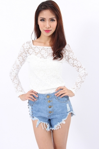 Lace Long Sleeve Top in White - Part and Parcel