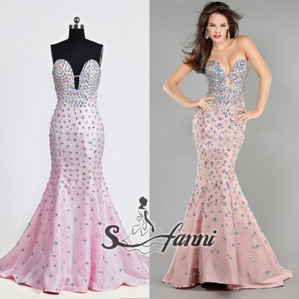evening dress, prom dress, prom gown, mermaid prom dress, pink dress ...