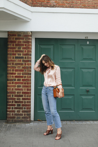 what olivia did... blogger blouse jeans bag shoes sandals fall outfits brown bag
