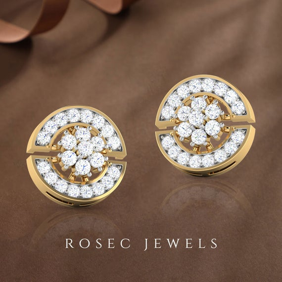 Round Diamond Halo Stud Earring, 14k Yellow Gold Diamond Cluster Earring, Bridal Screw Back Earring
