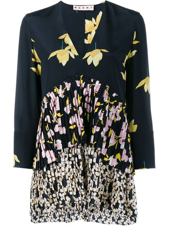 top pleated floral print silk black