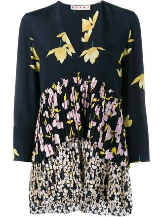 top pleated floral print silk black