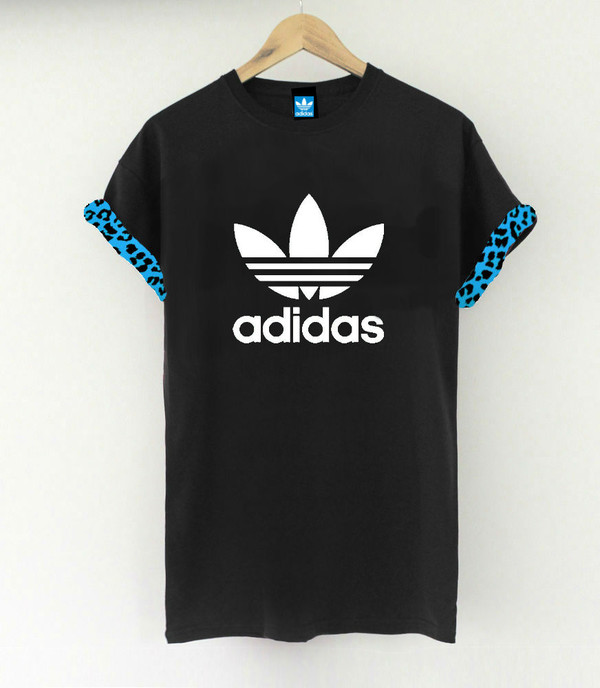 adidas adidas originals animal print black t-shirt