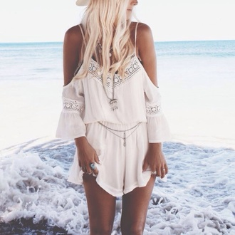 romper white pretty girly summer tumblr indie cute hat
