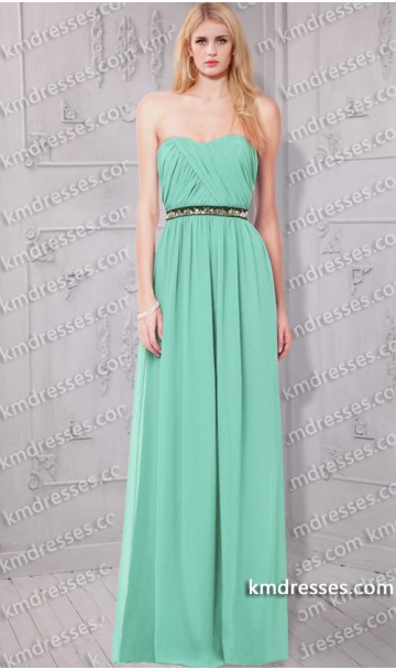 stunning Removable elastic jeweled belt Strapless Sweetheart chiffon dress