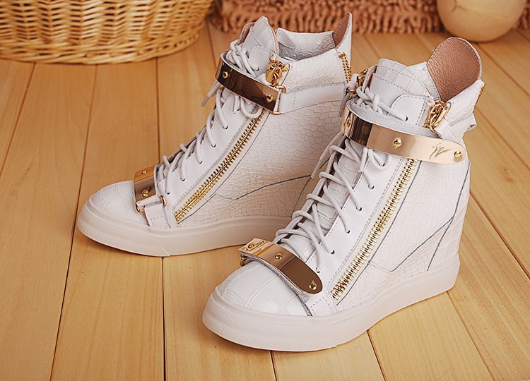 free shipping gz wedge sneakers goldtone hardware white