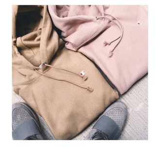 sweater champion nude pink top hoodie champions trendy hood jacket cropped hoodie cute long sleeves