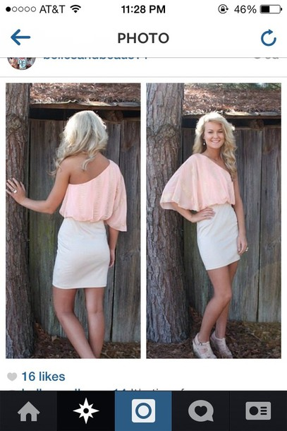 dress pink and white dress one shoulder short dress simple dress