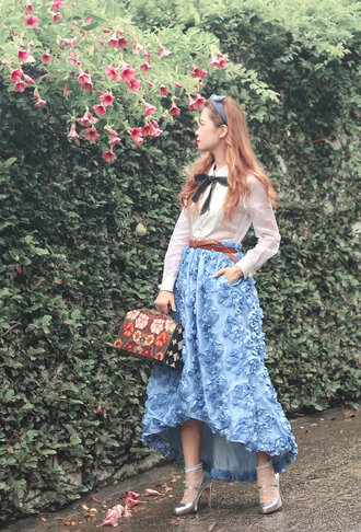 mellow mayo blogger dress belted dress blue dress light blue retro cute outfits silver shoes