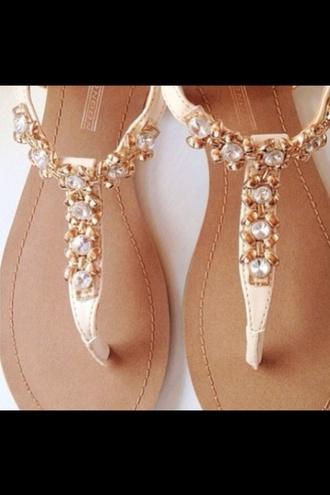 shoes sandals summer spring flat sandals embellished sandals