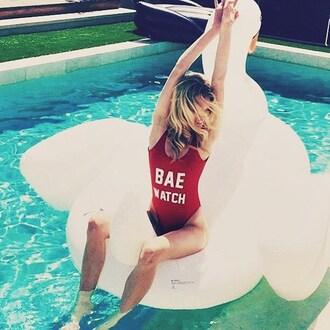 swimwear red sexy summer beach bae watch swimsuit fashion style hot freevibrationz