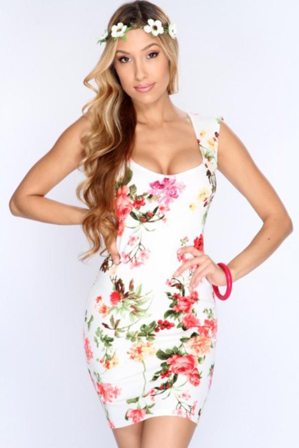Dress: floral dress, sexy dress, short dress, amiclubwear ...