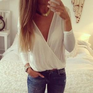 Deep v blouse