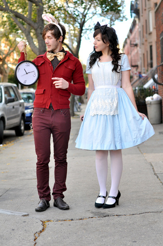 dress blue blue dress sleeves skater dress alice alice in wonderland fit and flare jacket men's costume