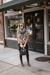 onesmallblonde,blogger,scarf,sweater,jeans,shoes,bag,winter outfits,fall outfits,ankle boots,beige sweater