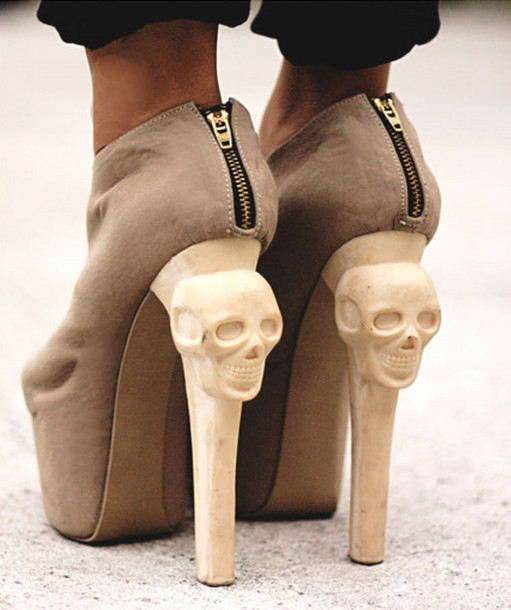 Crazy High Heels - 3Altp Shoes Kermit High Heels Boots Ankle Boots Skull Crazy Heels