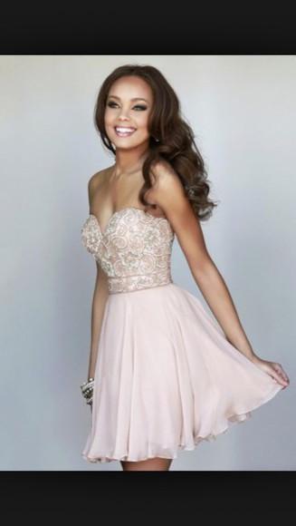 pink dress nude dress strapless dresses