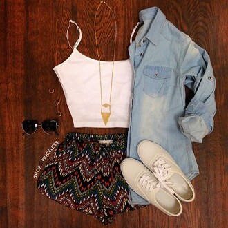 top white shop priceless shorts pattern shoes sunglasses black dark jacket denim blue light jewels necklace gold