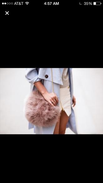bag furry bag fluffy pink fluffy beige pink dress gold chain necklace gold sequins