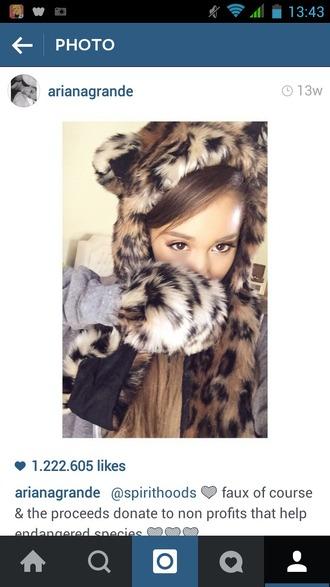 hat ariana grande leopard print
