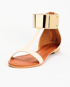 Strap Flat Sandal Gold Nude Beige | eBay
