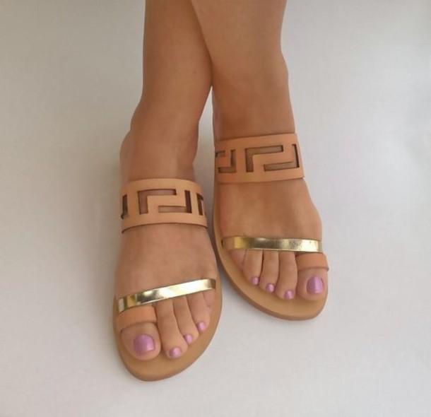 shoes sandals summer metallic nude sandals flat sandals cute sandals slide sandals