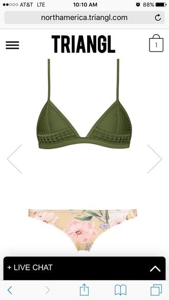 swimwear bikini floral bikini green bikini green swimwear