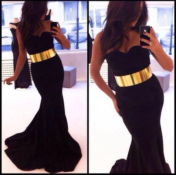 dress black black prom dress gold belt