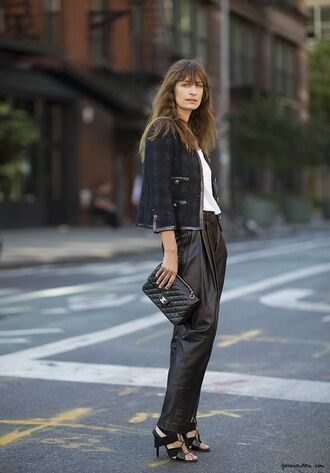 shoes caroline de maigret model fashionista pants black pants black high waisted pants top white top jacket tartan jacket tartan bag black bag chanel bag chanel office outfits spring outfits