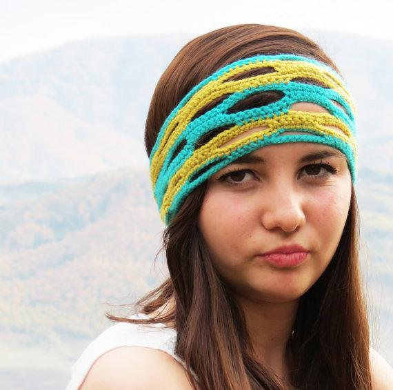 Layered crochet headband, mint yellow headband, cribriform bandana, ear warmer hair bands hair coverings for women head wrap, christmas