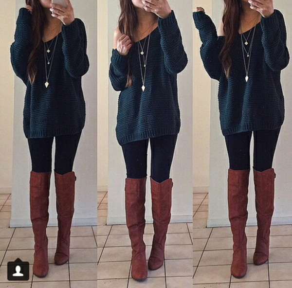 bule oversized sweater long sweater