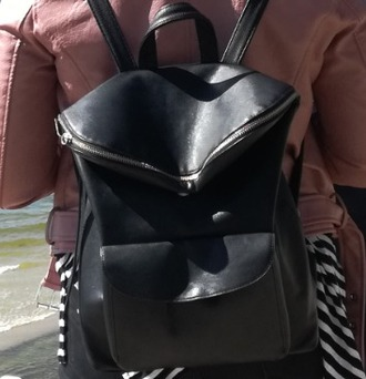 bag backpack leather zip leather backpack black backpack zipper flap