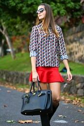 marilyn's closet blog,blogger,sunglasses,bag,red,mini skirt,pattern