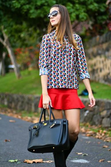 pattern marilyn's closet blog blogger sunglasses bag red mini skirt