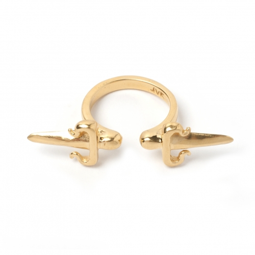 Double Dagger Ring - Gold | LeiVanKash - Jewellery