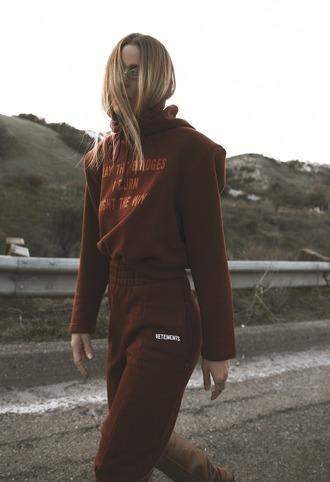 pants tumblr hoodie joggers tracksuit track pants red hoodie red pants joggers pants matching set