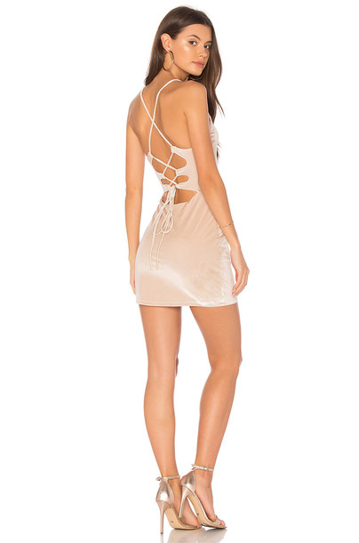 NBD dress bodycon bodycon dress metallic neutral