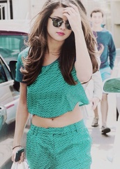 sunglasses,selena gomez,pretty,dress,green dress,two-piece,pattern,pastel,pastel goth,mainstream,brunette,h&m,make-up,lipstick,indie,floral,tank top,t-shirt,rayban,shorts