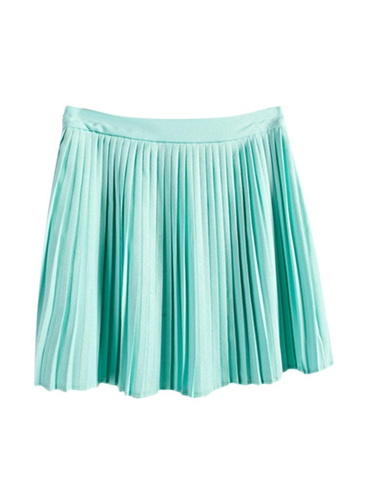 classic pleated solid chiffon mini skirt